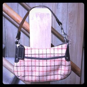 Tweed coach bag with leather details